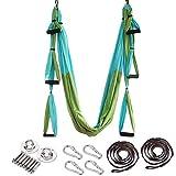 ARNTY Hamaca de Yoga Aéreo Hamacas, Antigravedad Yoga Hamaca,Yoga Trapecio para Ejercicios de Yoga Antigravedad para Aliviar el Dolor de Espalda (Azul&Verde)