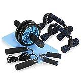 TOMSHOO 5 in 1 - Kit de Rueda Abdominal, Push Up Bars, Cuerda para Saltar, Fortalecedor de Mano, Rodilla Mat para Entrenamiento en Casa Ejercicios Fitness (Negro y Azul)