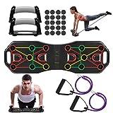 Fostoy Push Up Rack Board,9 en 1 Tabla de Flexiones y Bandas de Resistencia,Push Up Tablero Plegable y Multifuncional Equipo de Fitness para Hombres Mujeres Entrenamiento Muscular Gimnasio Hogar