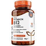 Vitamina B12 Vegana 1000mcg Alta Potencia - 365 Comprimido Vegana Suministro de 12 Meses - Reduce Cansancio y Fatiga, Contribuye al Funcionamiento Normal del Sistema Inmunológico - Hecho por Nutravita
